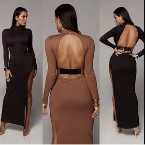 Black open back gold bar dress